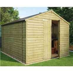 10ft x 8ft Pressure Treated Windowless Loglap Shed with Double Doors