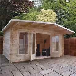 5m x 3m Woburn Log Cabin (Single Glazing) + Free Floor & Felt & Safety Glass (34mm Tongue and Groove Logs)