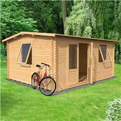 4m x 3m Vermon Log Cabin (Double Glazing) + Free Floor & Felt & Safety Glass (34mm Tongue and Groove Logs)