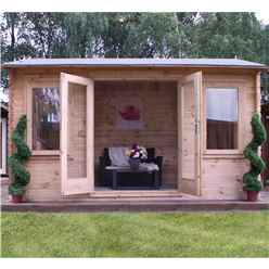 4m x 3m Vicky Log Cabin (Single Glazing) + Free Floor & Felt & Safety Glass (19mm Tongue and Groove Logs)
