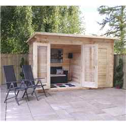 3.5m x 2.4m Vicky Log Cabin (Single Glazing) + Free Floor & Felt & Safety Glass (19mm Tongue and Groove Logs)