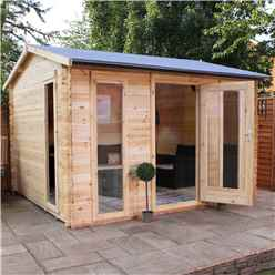 3.5m x 3m Vicky Log Cabin (Single Glazing) + Free Floor & Felt & Safety Glass (19mm Tongue and Groove Logs)