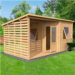 5m x 3m Corner Log Cabin With Side Area (Double Glazing) + Free Floor & Felt & Safety Glass (44mm Tongue and Groove Logs)