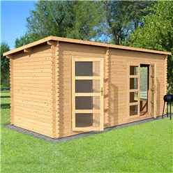 5.4m x 2.5m Pent Log Cabin With Side Shed (Double Glazing) + Free Floor & Felt & Safety Glass (34mm Tongue and Groove Logs)