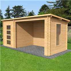 5.4m x 2.5m Pent Log Cabin With Open Space (Single Glazing) + Free Floor & Felt & Safety Glass (34mm Tongue and Groove Logs)