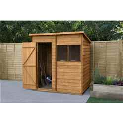 INSTALLED 6 x 4 Overlap Dip Treated Pent Shed - Double Doors INCLUDES INSTALLATION