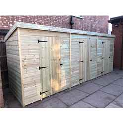 Bespoke 16 x 4 Premier Pressure Treated Tongue And Groove Pent Storage Shed - 3 Separate Units with Internal Walls
