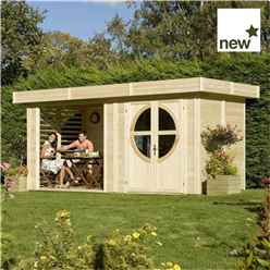 INSTALLED 4.79m x 2.39m Connor Unpainted Log Cabin (19mm Tongue and Groove) INCLUDES INSTALLATION