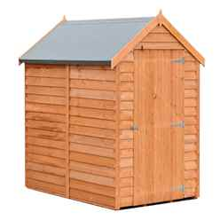 INSTALLED - 6 x 4 (1.83m x 1.20m) - Super Value Overlap - Apex Wooden Garden Shed - Windowless - Single Door - 10mm Solid OSB Floor