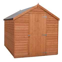 INSTALLED - 7 x 5  (2.05m x 1.62m) - Super Value Overlap - Apex Wooden Garden Shed - Windowless - Single Doors - 10mm Solid OSB Floor