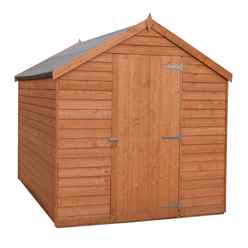 INSTALLED - 8 x 6  (2.39m x 1.83m) - Super Value Overlap - Apex Garden Wooden Shed - Windowless - Single Door - 10mm Solid OSB Floor