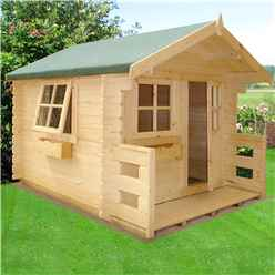 INSTALLED 6 x 7 (1.69m x 1.79m) - Salcey Playhouse - 28mm Logs