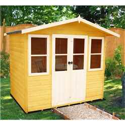 INSTALLED 7 x 5 (2.05m x 1.62m) - Premier Wooden Summerhouse - Central Double Doors - 12mm T&G Walls & Floor