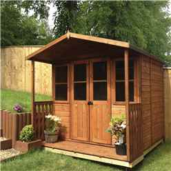 INSTALLED 7 x 7 (2.05m x 1.55m) -  Premier Wooden Summerhouse - Double Doors - Side Windows - 12mm T&G Walls & Floor INSTALLATION INCLUDED