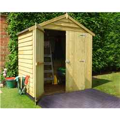 INSTALLED - 4 x 6 (1.19m x 1.79m) - Overlap Pressure Treated - Apex Garden Shed - Windowless - Double Doors - 10mm Solid OSB Floor