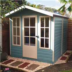 INSTALLED 7 x 7 (2.05m x 1.98m) - Premier Wooden Summerhouse - Single Door - 12mm T&G Walls - Floor - Roof