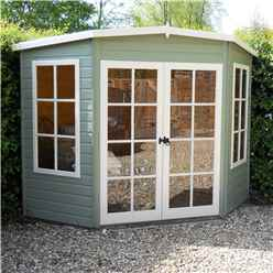 INSTALLED - 7 x 7 (1.98m x 2.05m) - Premier Corner Wooden Summerhouse - Double Doors - 12mm T&G Walls & Floor