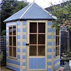 INSTALLED 6 x 7 (1.87m x 2.16m) - Premier Wooden Hexagonal Summerhouse - Single Door - 12mm T&G Walls & Floor INSTALLATION INCLUDED