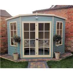 INSTALLED 8 x 8 (2.24m x 2.24m) - Premier Wooden Corner Summerhouse - Double Doors - 12mm T&G Walls & Floor INSTALLATION INCLUDED