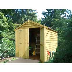 INSTALLED - 8 x 6 (2.38m x 1.79m) - Overlap Pressure Treated - Apex Garden Shed - Windowless - Double Doors - 10mm Solid OSB Floor