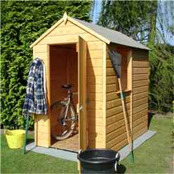 INSTALLED - 6 x 4 (1.83m x 1.19m) - Tongue And Groove - Apex Garden Shed - 1 Window - Single Door - 10mm Solid OSB Floor