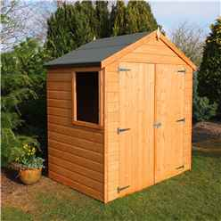 INSTALLED - 4 x 6 (1.19m x 1.79m) - Tongue And Groove - Apex Garden Shed - 1 Opening Window - Double Doors - 10mm Solid OSB Floor INSTALLATION INCLUDED