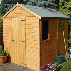 INSTALLED - 8 x 6 (2.39m x 1.79m) - Tongue And Groove - Apex Garden Shed - 1 Window - Single Door - 10mm OSB Floor