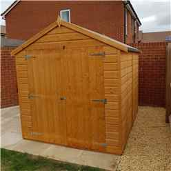 INSTALLED - 8 x 6 (2.38m x 1.79m) - Tongue And Groove - Apex Garden Shed - 1 Window - Double Doors - 10mm OSB Floor