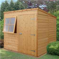 INSTALLED - 7 x 7  (2.05m x 1.98m) - Tongue And Groove - Pent Garden Shed - 1 Opening Window - Single Door - 10mm OSB Floor