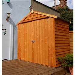 INSTALLED - 4 x 6 (1.19m x 1.82m) - Overlap Dip Treated - Apex Garden Shed - Windowless - Double Doors - 10mm Solid OSB Floor