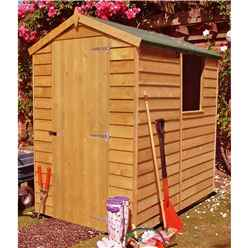 INSTALLED - 6 x 4 (1.82m x 1.19m) - Overlap Dip Treated - Apex Garden Shed - 1 Window - Single Door - 10mm Solid OSB Floor