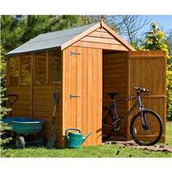 INSTALLED - 7 x 5 (2.04m x 1.61m) -  Overlap Dip Treated - Apex Garden Shed - 4 Windows - Double Doors - 10mm Solid OSB Floor
