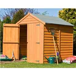 INSTALLED - 6 x 6 (1.76m x 1.82m) - Overlap Dip Treated - Apex Garden Shed - Windowless - Double Doors - 10mm Solid OSB Floor INSTALLATION INCLUDED