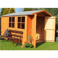 INSTALLED - 10 x 7 (2.97m x 2.04m) - Overlap Dip Treated - Apex Garden Shed - 2 Opening Windows - Double Doors - 10mm Solid OSB Floor