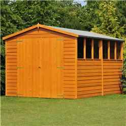 INSTALLED - 10 x 8 (2.99m x 2.39m) - Overlap Dip Treated - Apex Garden Shed - 6 Windows - Double Doors - 10mm Solid OSB Floor