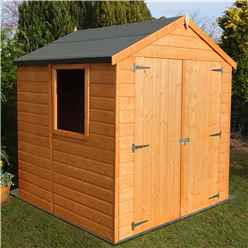 INSTALLED -  6 x 6 (1.79m x 1.79m) - Tongue And Groove - Apex Garden Shed / Workshop - 1 Opening Window - Double Doors - 12mm Tongue And Groove Floor