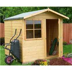 INSTALLED - 7 x 7 (2.05m x 1.98m) - Tongue And Groove Apex Garden Shed - 1 Window - Single Door - 12mm Tongue And Groove Floor