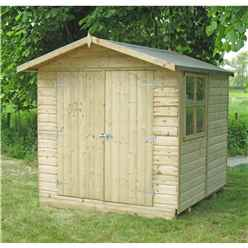 INSTALLED - 7 x 7 (2.05m x 2.04m) - Tongue And Groove - Apex Garden Shed / Workshop - 1 Opening Window - Double Doors - 12mm Tongue And Groove Floor