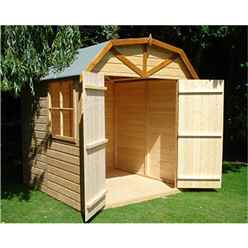 INSTALLED - 7 x 7 (2.05m x 1.98m) - Tongue And Groove Apex Garden Shed / Barn - 1 Window - Double Doors - 12mm Tongue And Groove Floor