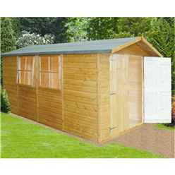 INSTALLED - 13 x 7 (4.03m x 1.98m) - Tongue And Groove - Wooden Garden Shed / Workshop 3 Opening Windows - DIouble Doors -12mm Tongue And Groove Floor
