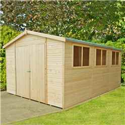 INSTALLED - 15 x 10 (4.48m x 2.99m) - Tongue And Groove Wooden Garden Shed / Workshops - 6 Windows - Double Doors - 12mm Tongue And Groove Floor And Roof