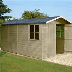 INSTALLED - 13 x 7 (4.03m x 2.05m) - Tongue And Groove Pressure Treated - Apex Shed - 2 Opening Windows - Double Doors - 12mm Tongue And Groove Floor