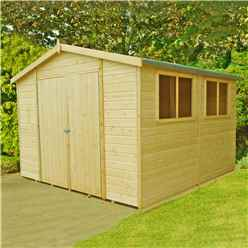 INSTALLED - 10 x 10 (2.99m x 2.99m) - Tongue And Groove - Wooden Garden Shed / Workshop - 6 Windows - Double Doors - 12mm Tongue And Groove Floor
