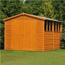 10 x 10 (2.99m x 2.99m) - Dip Treated Overlap - Apex Wooden Garden Shed - 6 Windows - Double Doors - 10mm Solid OSB Floor