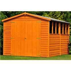 INSTALLED - 10 x 10 (2.99m x 2.99m) - Dip Treated Overlap - Apex Wooden Garden Shed - 6 Windows - Double Doors - 10mm Solid OSB Floor