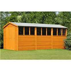 15 X 10 (4.52m X 2.99m) - Dip Treated Overlap - Apex Wooden Garden Shed - 9 Windows - Double Doors - 10mm Solid Osb Floor - Core (bs)