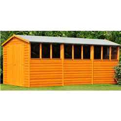 INSTALLED - 15 x 10 (4.52m x 2.99m) - Dip Treated Overlap - Apex Wooden Garden Shed - 9 Windows - Double Doors - 10mm Solid OSB Floor INSTALLATION INCLUDED