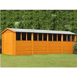 20 x 10 (6.05m x 2.99m) - Dip Treated Overlap - Apex Wooden Garden Shed - 12 Windows - Double Doors - 10mm Solid OSB Floor