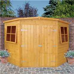 10 x 10 (2.99m x 2.99m) - Tongue And Groove - Corner Wooden Garden Shed / Workshop - 2 Opening Windows - Double Doors - 12mm Tongue And Groove Floor