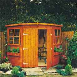 INSTALLED - 10 x 10 (2.99m x 2.99m) - Tongue And Groove -  Corner Wooden Garden Shed - 2 Opening Windows - Double Doors - 12mm Tongue And Groove Floor